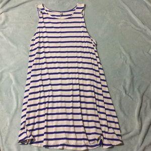 Blue & Cream Striped Tank Dress